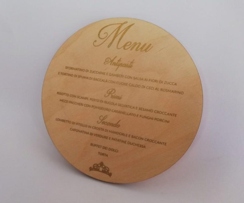 Menù su legno (stampa serigrafica)