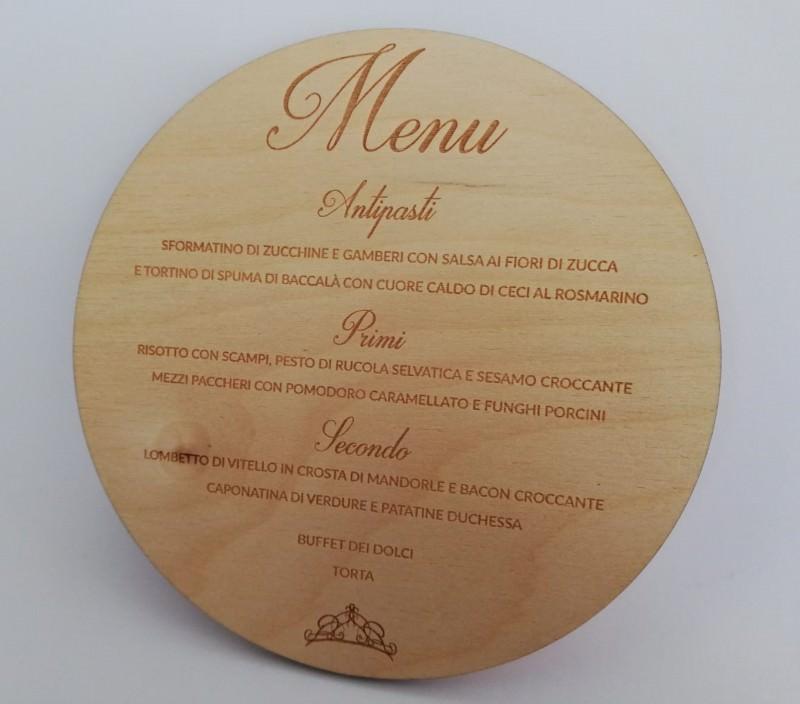 Menù su legno (incisione)